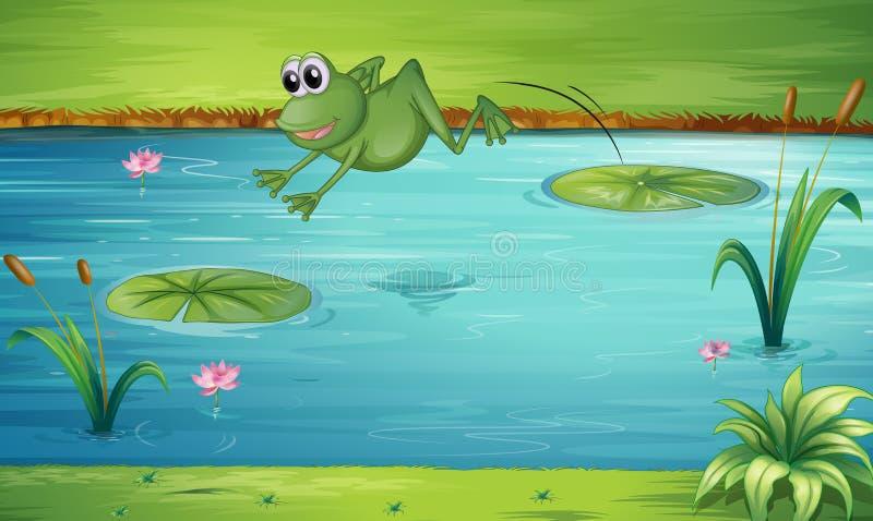 Ein Froschspringen lizenzfreie abbildung