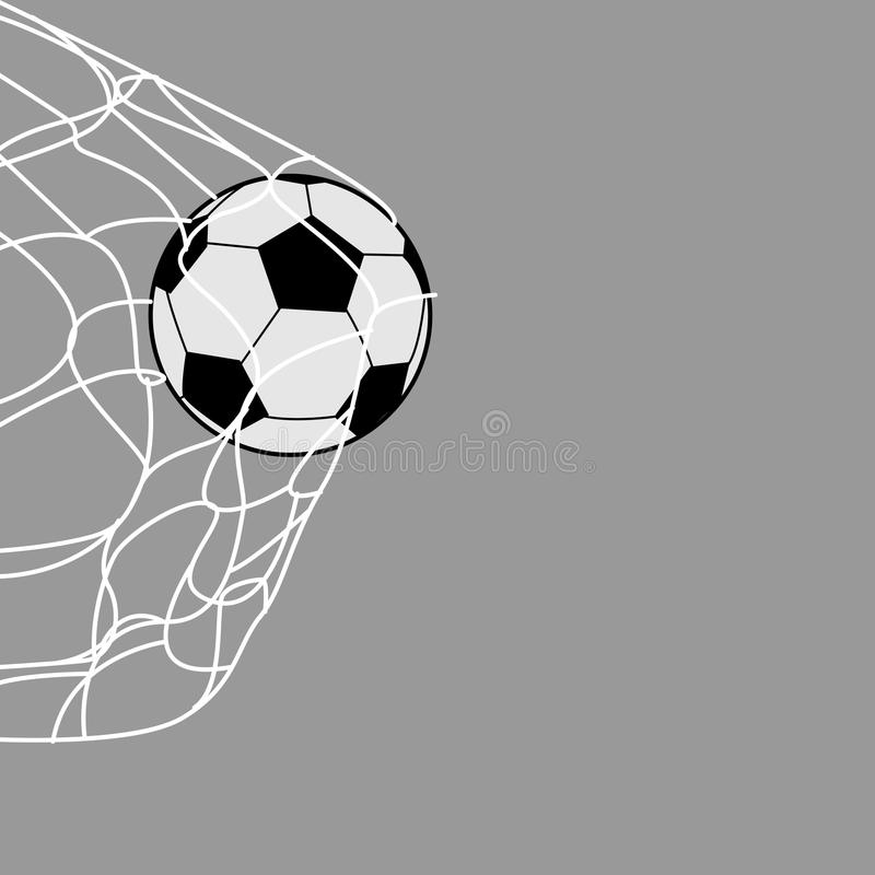 Ein Fußball auf der Rückseite des Netzes lizenzfreie abbildung