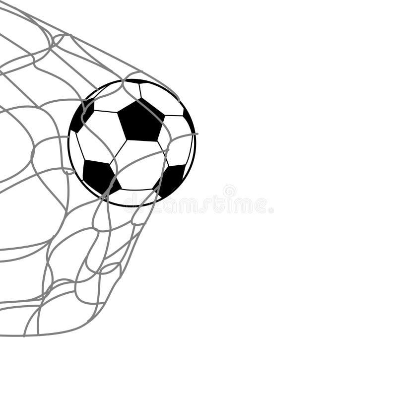 Ein Fußball auf der Rückseite des Netzes vektor abbildung