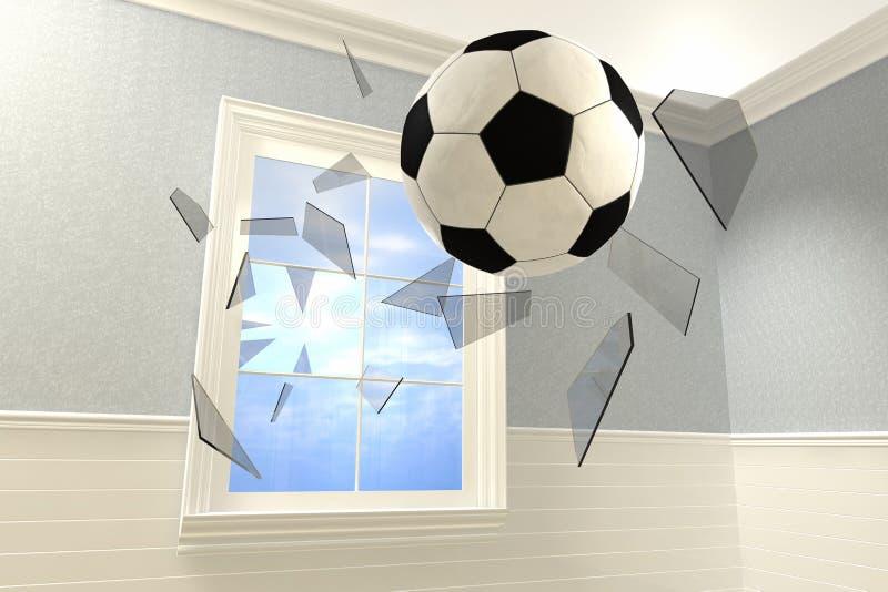 Ein Fußball, der in einen Raum bricht ein Fenster kommt stock abbildung