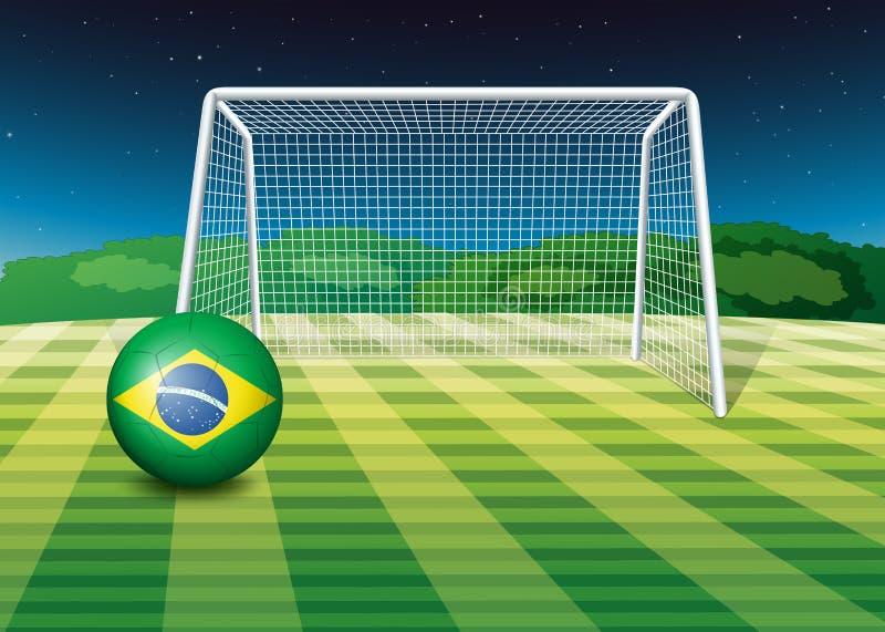 Ein Fußball mit der Flagge von Brasilien stock abbildung