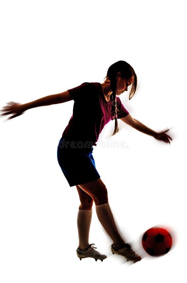 Ein Fußballmädchen lokalisiert stockfotos