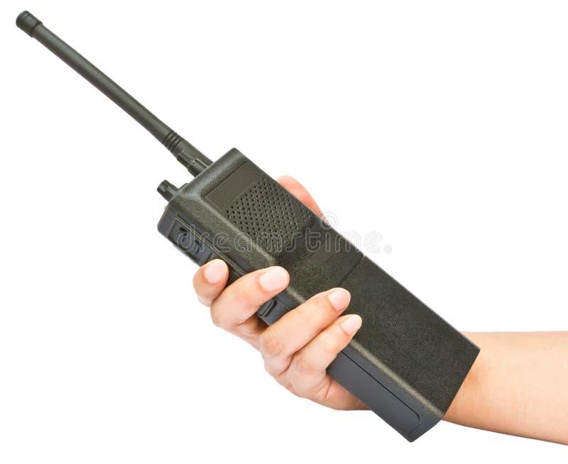 Ein Funksprechgerät in der Hand lizenzfreies stockbild