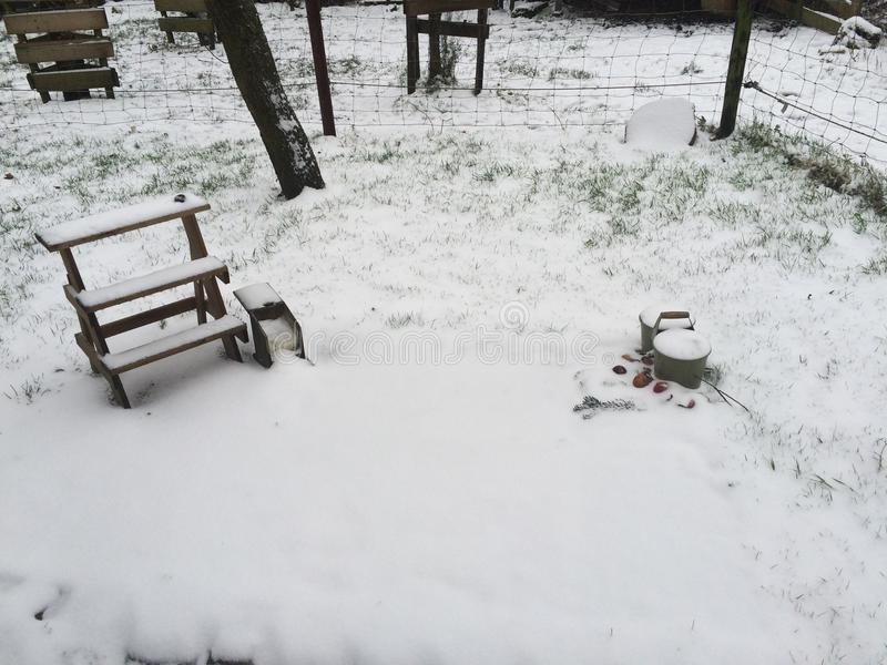 Ein Garten im Schnee stockfotos