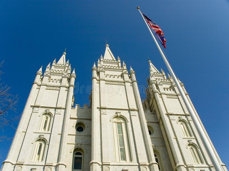 Ein Gebäude am Tempel-Quadrat Salt Lake City Utah stockfotografie