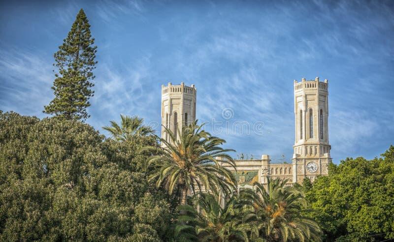 Ein Gebäude von Rathaus in Cagliari, Sardinien, Italien lizenzfreies stockfoto