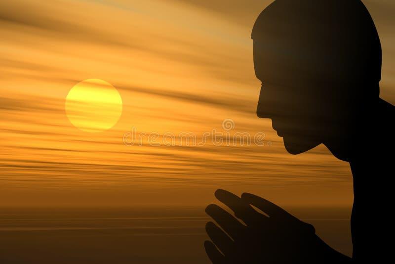 Ein Gebet am Sonnenuntergang lizenzfreie abbildung