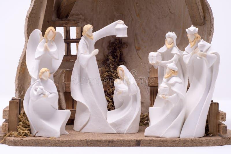 Ein Geburt Christis-Satz, der die drei weisen Männer besuchen Jesus darstellt, stellte gegen einen sauberen weißen Hintergrund ei stockfoto
