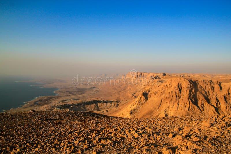 Ein Gedi Kibbuts och reserv nära det döda havet, Israel på soluppgång royaltyfri bild
