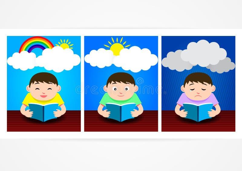 Ein Gefühl, wenn ein Buch mit 3 Gefühlen gelesen wird vektor abbildung