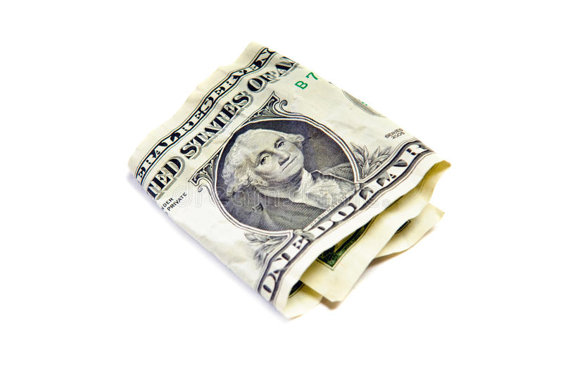 Ein geknittert Dollar lizenzfreie stockfotografie