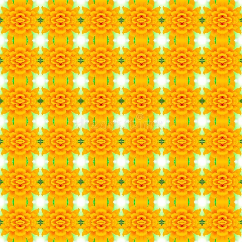 Ein gelber unterer Blütenblumenhintergrund, nahtloses Muster, kann Repräsentant stockfoto