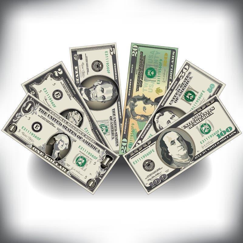 Ein Geldfan von US-Rechnungen lizenzfreie abbildung
