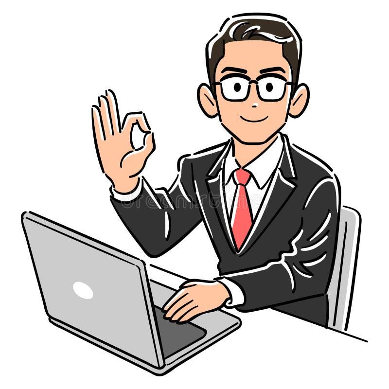 Ein Gesch?ftsmann, der die Gl?ser betreiben einen Computer tr?gt, gibt ein O.K.-Zeichen stock abbildung
