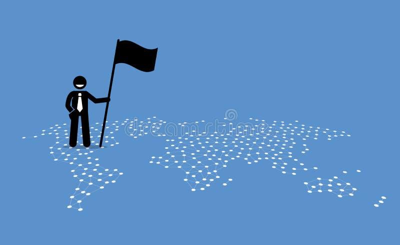 Ein Geschäftsmann, der eine Flagge und eine Stellung auf Vereinigte Staaten einer Weltkarte hält lizenzfreie abbildung