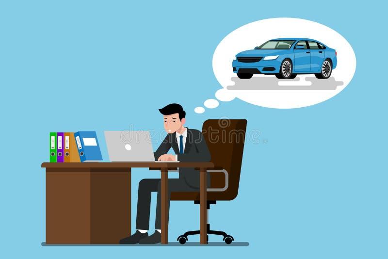 Ein Geschäftsmann, der ernsthaft mit seinem Laptop sitzt und arbeitet Er denkend an die Zukunft, dass er sein eigenes blaues Auto lizenzfreie abbildung