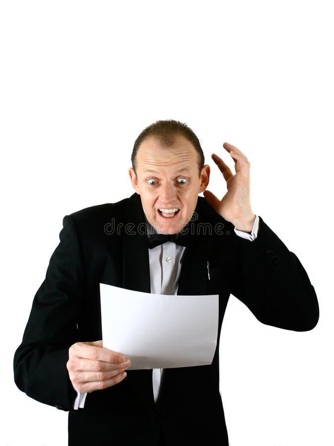 Ein Geschäftsmann, der Schlag ausdrückt lizenzfreies stockfoto