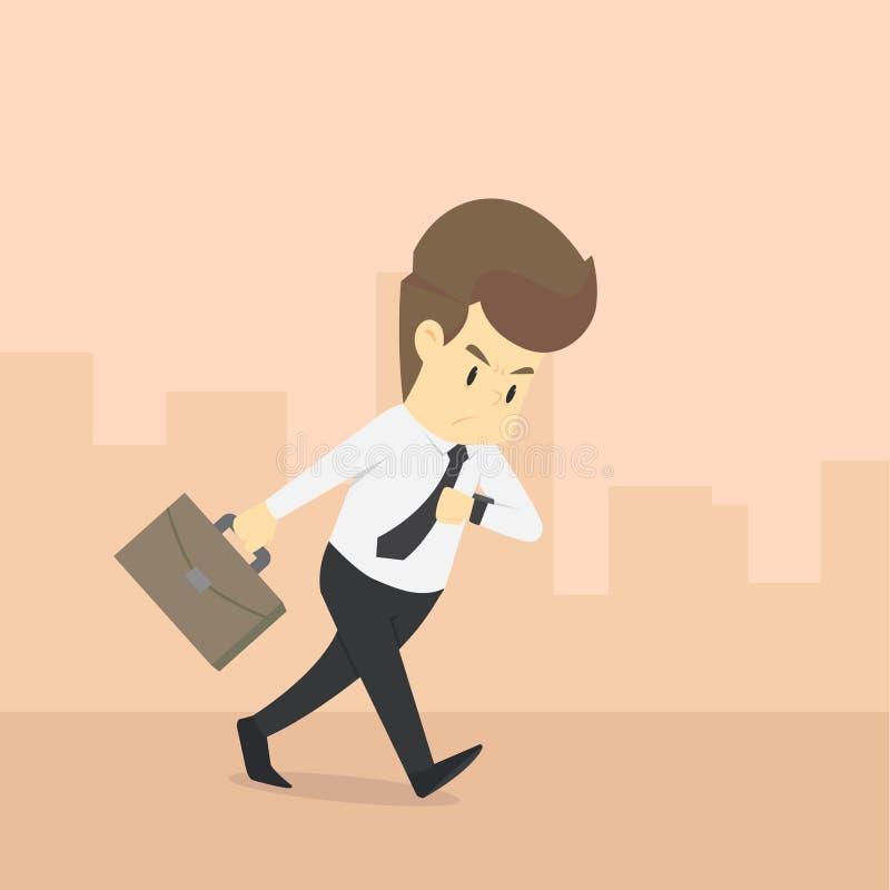 Ein Geschäftsmann gehetzt, um zu arbeiten stock abbildung