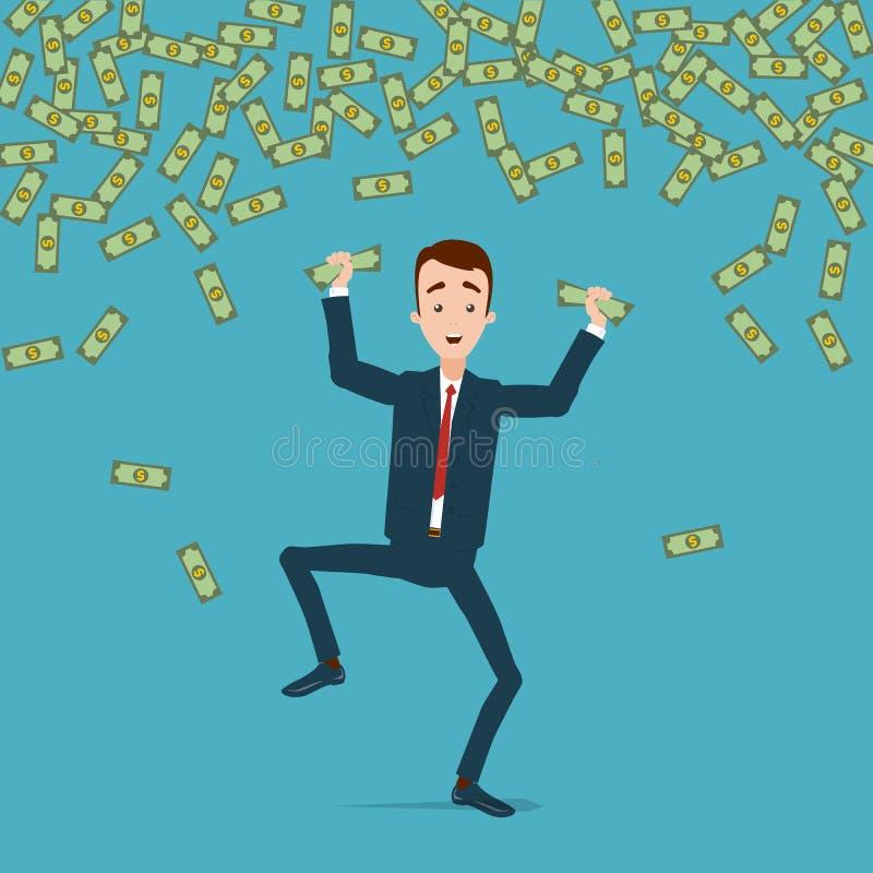 Ein Geschäftsmann springt und tanzt mit Freude im Regen des Geldes Geld wird in den Händen zerknittert stock abbildung
