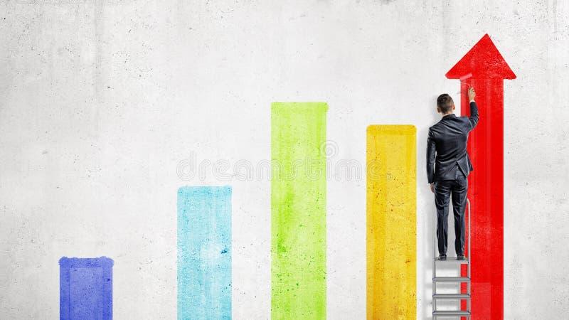 Ein Geschäftsmann steht auf einem Stehleiter und zeichnet mit einer Farbenrolle einige bunte Diagrammspalten stock abbildung