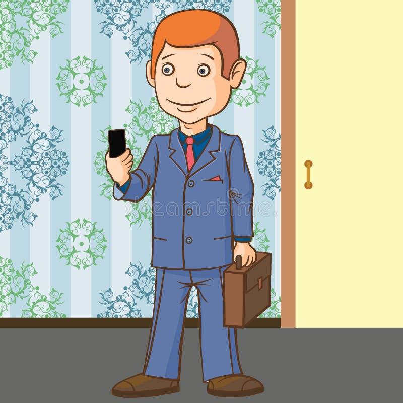 Ein Geschäftsmann steht mit einem Telefon in seiner Hand Sehr leidenschaftlich über Kommunikation vektor abbildung