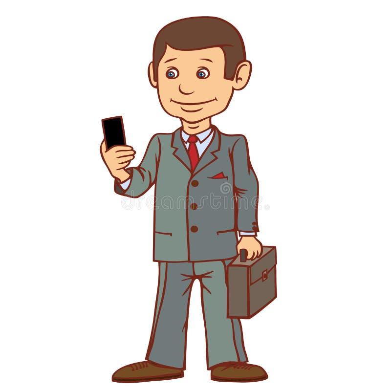 Ein Geschäftsmann steht mit einem Telefon in seiner Hand Sehr leidenschaftlich über Kommunikation stock abbildung