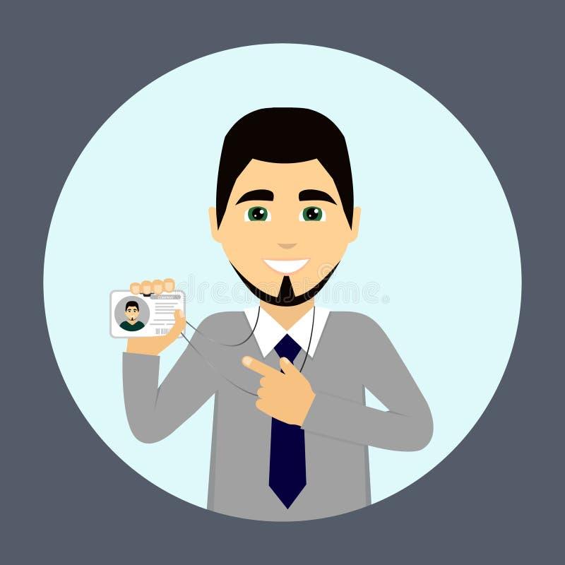 Ein Geschäftsmann trägt einen Ausweis Angestellter der Firma Auch im corel abgehobenen Betrag stock abbildung