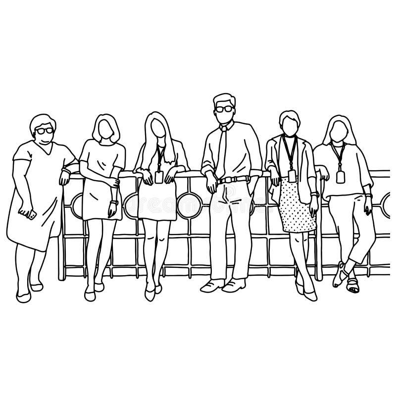 Ein Geschäftsmann und fünf Geschäftsfrauen, welche zusammen die Vektorillustrationsskizzen-Gekritzelhand gezeichnet mit den schwa vektor abbildung