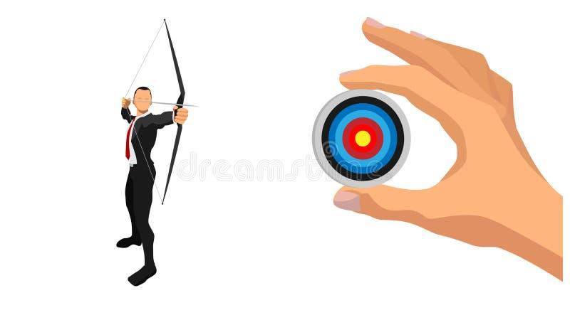 Ein Geschäftsmann visiert ein Ziel an stock abbildung