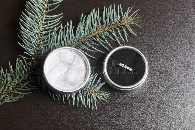 Ein Geschenk bis geliebtes Ein offener silberner Kasten mit einem Goldring Auf einem dunklen Hintergrund mit einem Fichtenzweig stockfotos