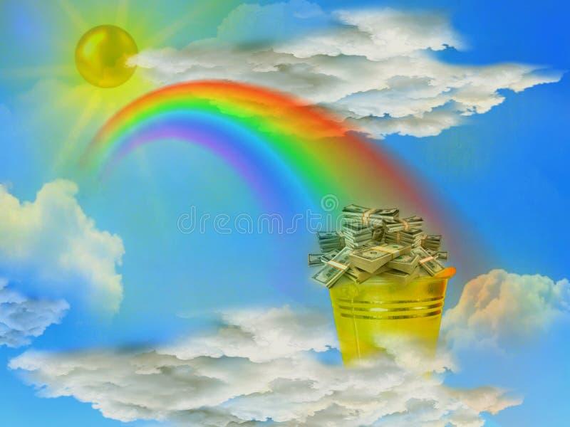 Ein Geschenk von der Sonne und von einem Regenbogen in Form eines Eimers mit Dollar stockbilder
