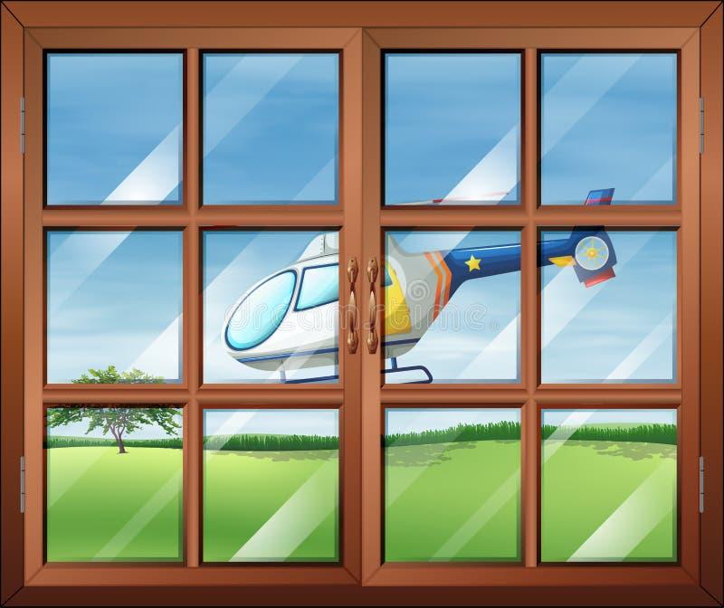 Ein geschlossenes Fenster und der Zerhacker draußen vektor abbildung