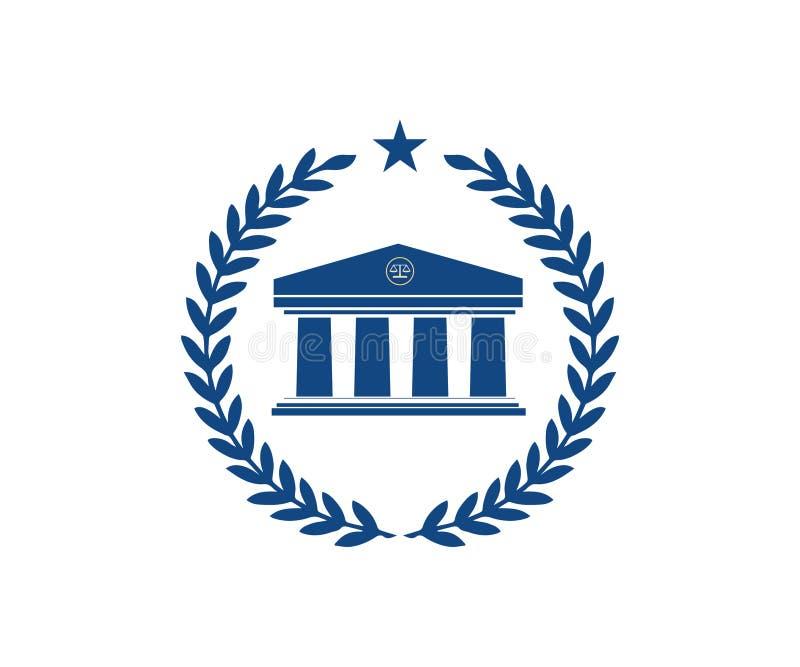 Ein Gesetzeslogo in der blauen Farbe stock abbildung