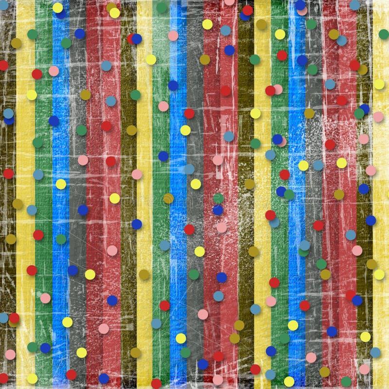Ein gestreifter Kratzerhintergrund mit Confetti vektor abbildung