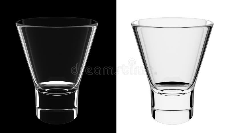 Ein getrenntes leeres kürzeres Glas stock abbildung