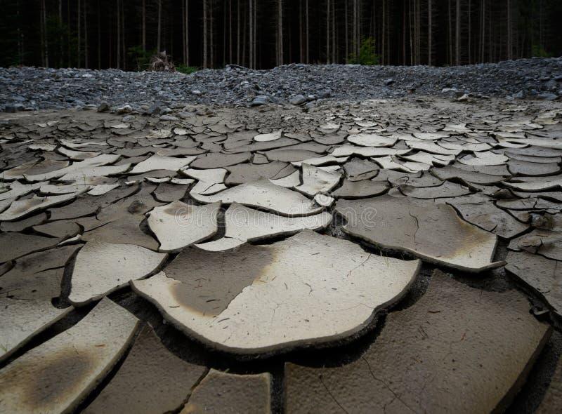 Ein getrockneter hoher Fluss wegen des Mangels an Niederschlag und Abholzung lizenzfreie stockfotografie