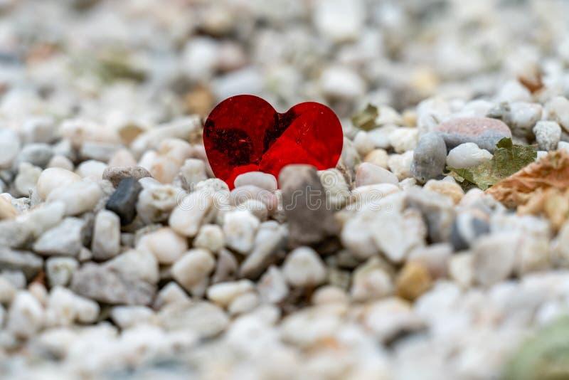 Ein glänzendes rotes Herz verlor auf einem Weg von weißen Kieseln stockbild