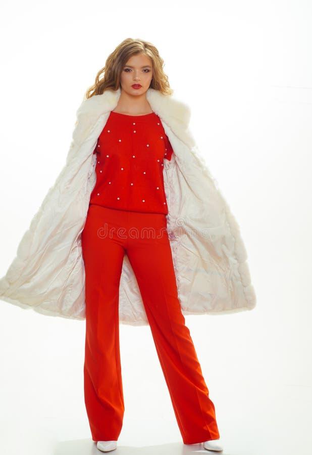 Ein gl?nzendes suchen nach Tag des k?hlen Wetters H?bsche Frau in Luxuspelzweste Mode-Modell tragen luxuri?sen Pelz Sch?nes M?dch lizenzfreies stockfoto