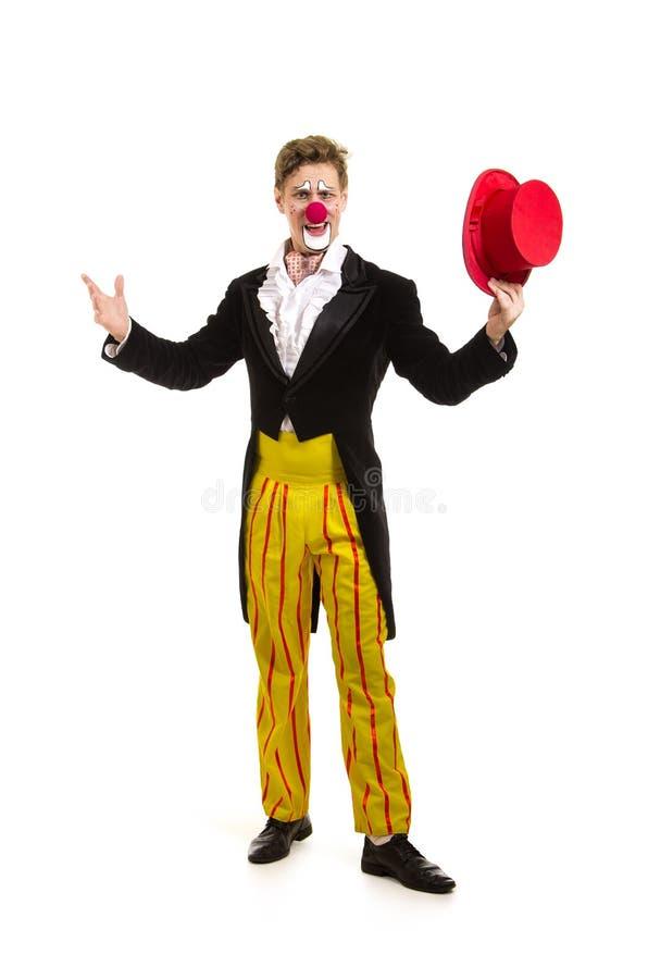 Ein glücklicher Clown mit einem lustigen Ausdruck lizenzfreie stockbilder