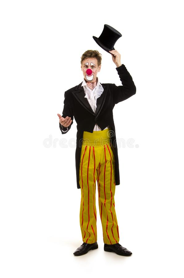 Ein glücklicher Clown mit einem lustigen Ausdruck lizenzfreies stockbild