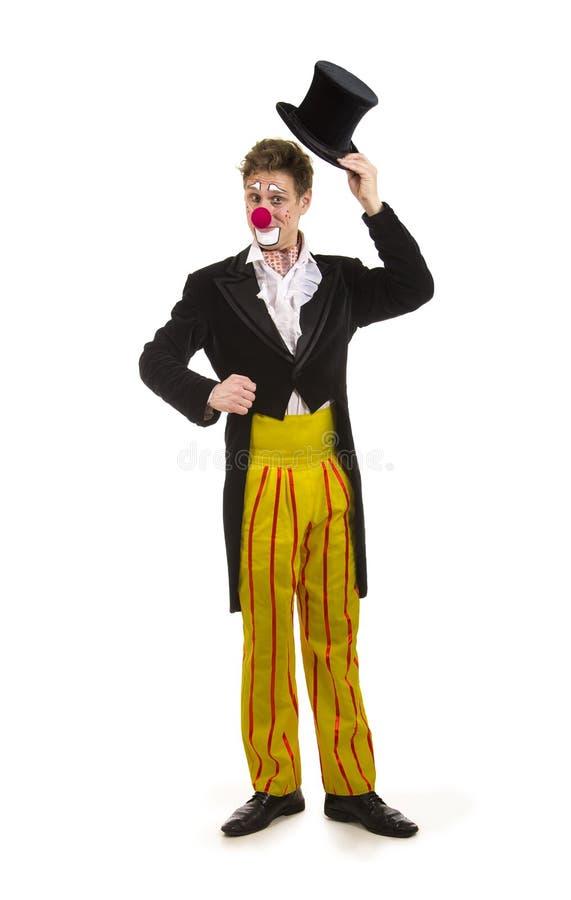 Ein glücklicher Clown mit einem lustigen Ausdruck stockfotografie