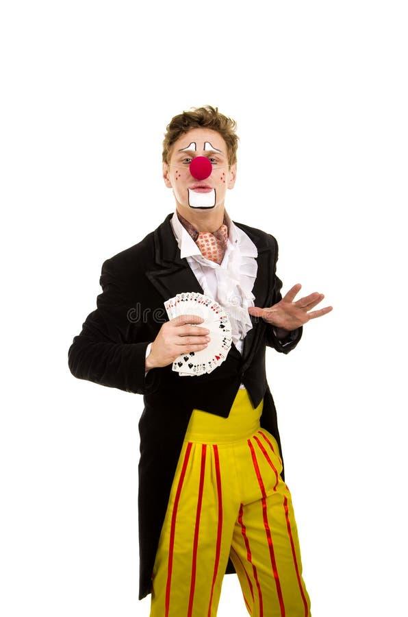 Ein glücklicher Clown mit einem lustigen Ausdruck lizenzfreie stockfotografie