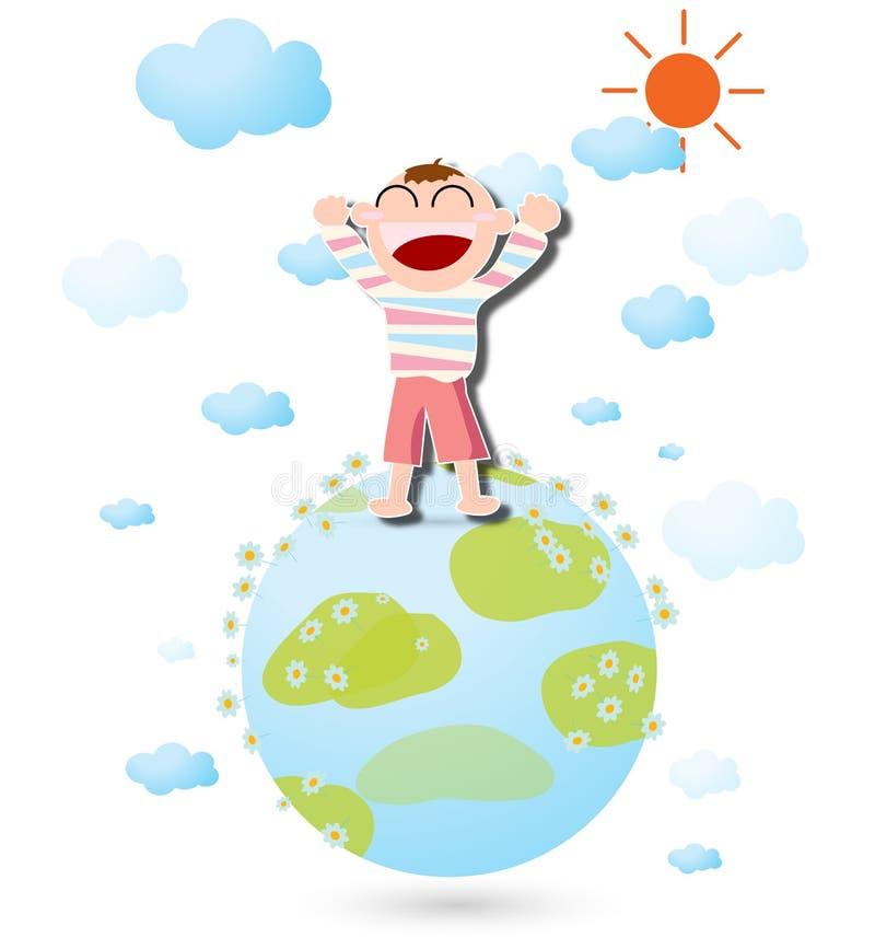 Ein glückliches Kind und die Welt lizenzfreie abbildung