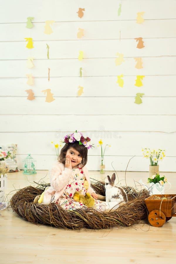 Ein glückliches kleines Mädchen in einem Kleid mit Blumen auf ihrem Kopf sitzt in einem Nest und hält nette flaumige Ostern-Entle stockfotos