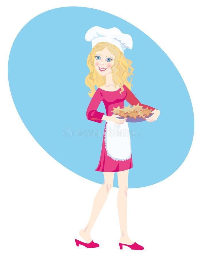 Ein glückliches Mädchen am Weihnachten, wenn Plätzchen gebacken werden lizenzfreie abbildung