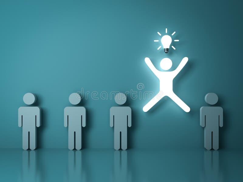 Ein glühender heller Mann, der mit einer Ideenbirne unter anderen Leuten springt lizenzfreie abbildung