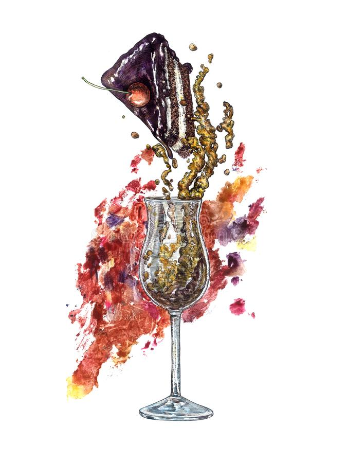 Ein Glas des Weinbrands und des Stückes des Schokoladenkuchens mit buntem abstraktem Farbenspritzen auf Hintergrund, handgemaltes lizenzfreie abbildung