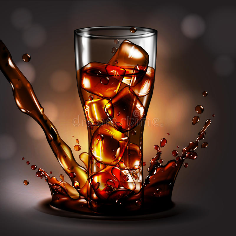 Ein Glas Eis in einem Kolabaumspray, hoch ausführliches realistisches illustra stock abbildung