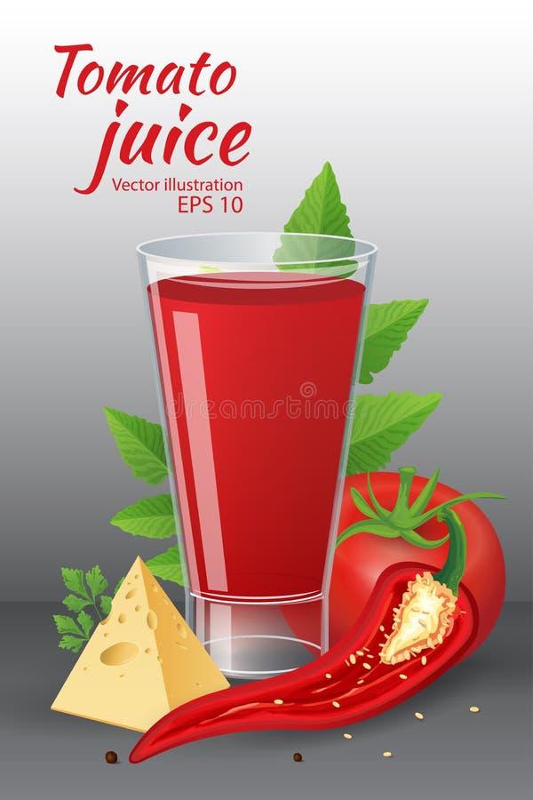 Ein Glas geschmackvoller frischer Tomatensaft mit roten reifen Tomaten, grünen Tomatenblättern, Käse, Pfeffer des scharfen Paprik stock abbildung