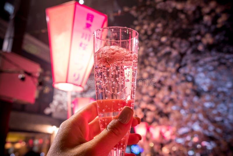 Ein Glas Kirschblüte-Champagner unter Kirschbäumen entlang Meguro-Fluss, Meguro-ku, Tokyo, Japan essen Nicht englische Texte Mitt stockbilder